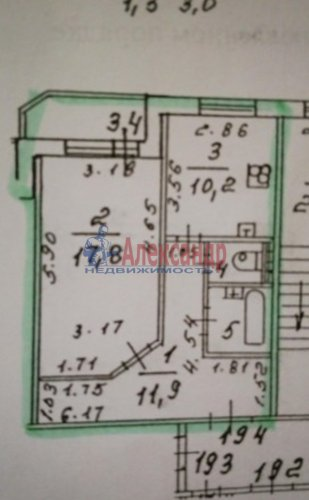 1-комнатная квартира (46м2) на продажу по адресу Коломяжский пр., 20— фото 2 из 6