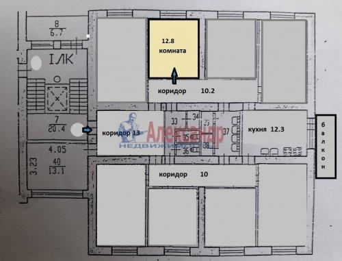 Комната в 8-комнатной квартире (196м2) на продажу по адресу Демьяна Бедного ул., 29— фото 2 из 12