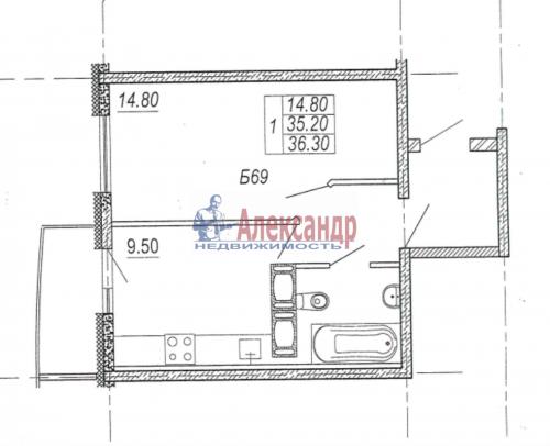 1-комнатная квартира (36м2) на продажу по адресу Шушары пос., Новгородский просп., 8— фото 1 из 4