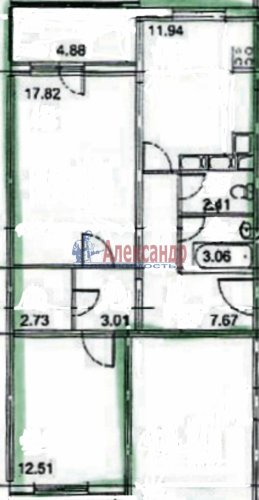 2-комнатная квартира (61м2) на продажу по адресу Парашютная ул., 58— фото 2 из 12