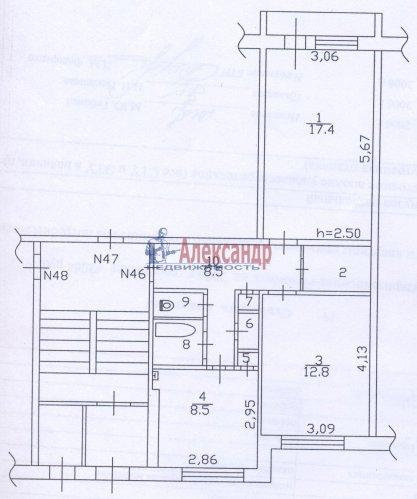 2-комнатная квартира (55м2) на продажу по адресу Курковицы дер., 3— фото 2 из 2
