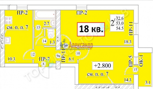 2-комнатная квартира (55м2) на продажу по адресу Тайцы пгт., 73а— фото 2 из 2