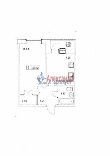 1-комнатная квартира (36м2) на продажу по адресу Мурино пос., Оборонная ул., 8— фото 1 из 1