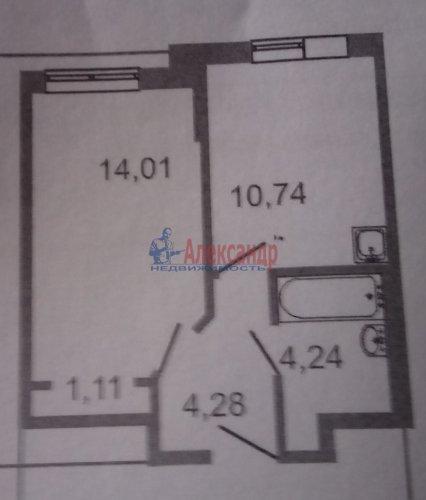 1-комнатная квартира (35м2) на продажу по адресу Мурино пос., Авиаторов Балтики пр., 11— фото 1 из 1