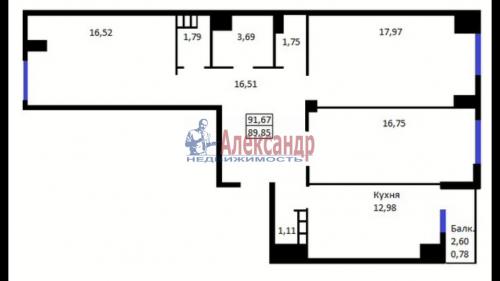3-комнатная квартира (92м2) на продажу по адресу Пушкин г., Архитектора Данини ул., 5— фото 2 из 12