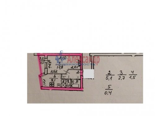 1-комнатная квартира (40м2) на продажу по адресу Киришская ул., 11— фото 8 из 8