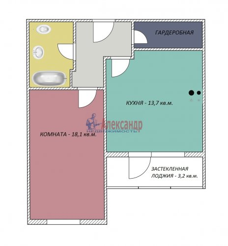 1-комнатная квартира (44м2) на продажу по адресу Ленинский пр., 51— фото 13 из 16