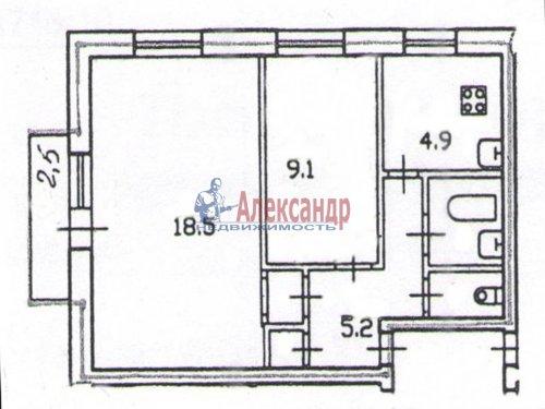 2-комнатная квартира (42м2) на продажу по адресу Павловск г., Мичурина ул., 28— фото 7 из 9