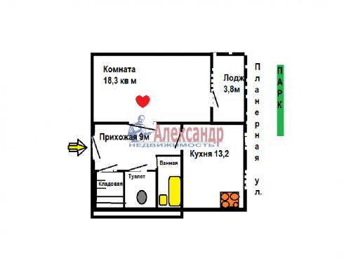 1-комнатная квартира (48м2) на продажу по адресу Планерная ул., 77— фото 2 из 11