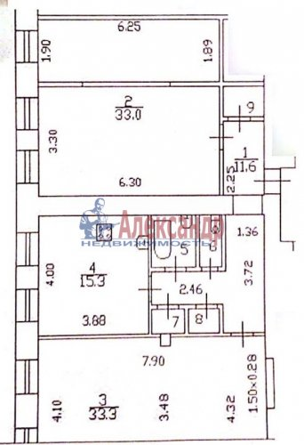 2-комнатная квартира (100м2) на продажу по адресу Саперный пер., 17— фото 3 из 3