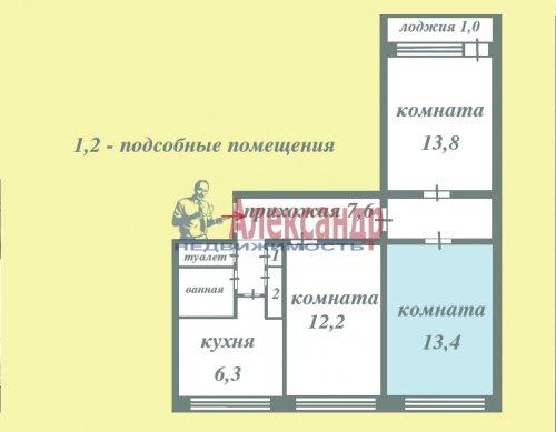 Комната в 3-комнатной квартире (62м2) на продажу по адресу Старая дер., Верхняя ул., 12— фото 2 из 18