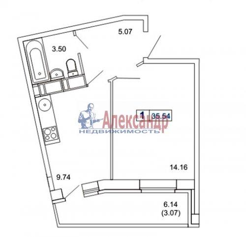 1-комнатная квартира (36м2) на продажу по адресу Маршала Блюхера пр., 12— фото 2 из 2