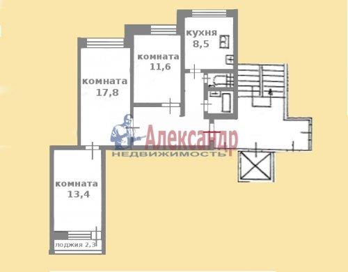 3-комнатная квартира (68м2) на продажу по адресу Ситцевая ул., 3— фото 2 из 3