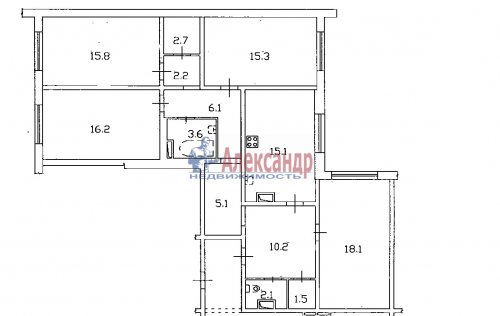 4-комнатная квартира (114м2) на продажу по адресу Ленинский пр., 55— фото 3 из 3