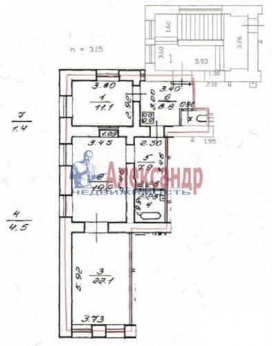 3-комнатная квартира (72м2) на продажу по адресу Синопская наб., 46— фото 1 из 3