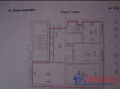 3-комнатная квартира (98м2) на продажу по адресу Петергоф г., Ропшинское шос., 7— фото 18 из 22
