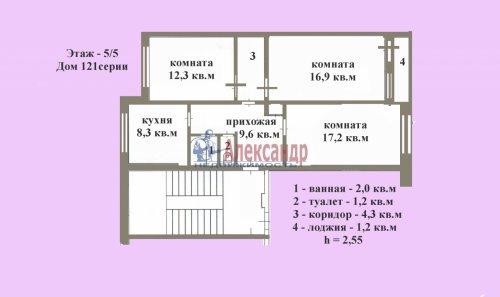 3-комнатная квартира (74м2) на продажу по адресу Им. Морозова пгт.— фото 1 из 3