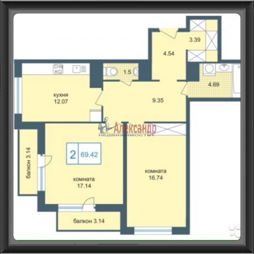 2-комнатная квартира (70м2) на продажу по адресу Дунайский пр., 7— фото 2 из 21
