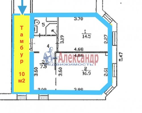 2-комнатная квартира (45м2) на продажу по адресу Всеволожск г., Александровская ул., 79— фото 1 из 3