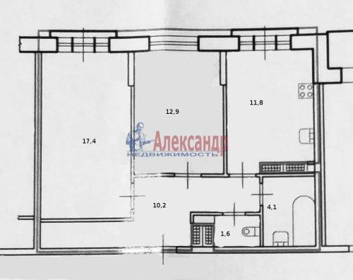 2-комнатная квартира (58м2) на продажу по адресу Парголово пос., Михаила Дудина ул., 25— фото 9 из 9