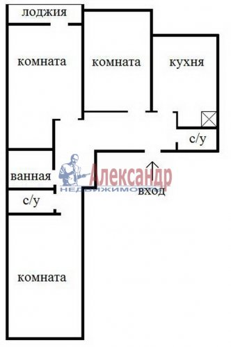 3-комнатная квартира (78м2) на продажу по адресу Парголово пос., Заречная ул., 37— фото 16 из 16