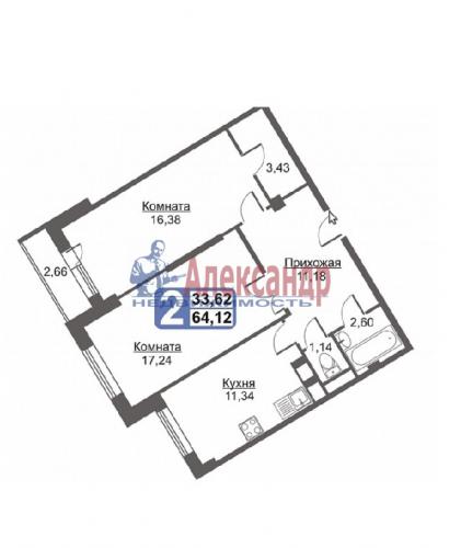 2-комнатная квартира (64м2) на продажу по адресу Гатчина г., Красных Военлетов ул., 2A— фото 2 из 9