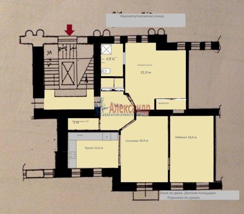 3-комнатная квартира (96м2) на продажу по адресу Краснопутиловская ул., 13— фото 4 из 14