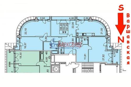 4-комнатная квартира (156м2) на продажу по адресу Варшавская ул., 66— фото 3 из 25