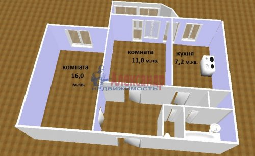 2-комнатная квартира (48м2) на продажу по адресу Маршала Новикова ул., 7— фото 7 из 8