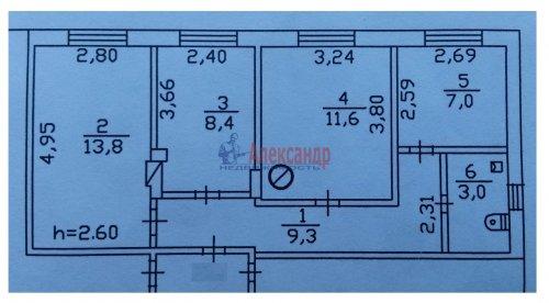 3-комнатная квартира (53м2) на продажу по адресу Верево ст., Железнодорожная ул., 16— фото 2 из 22