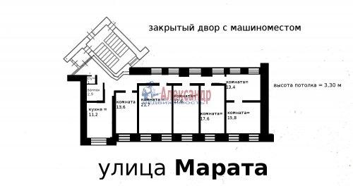 6-комнатная квартира (141м2) на продажу по адресу Марата ул., 60— фото 2 из 4