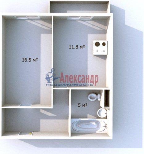 1-комнатная квартира (42м2) на продажу по адресу Ленинский пр., 57— фото 1 из 8