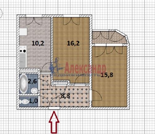 2-комнатная квартира (55м2) на продажу по адресу Латышских Стрелков ул., 5— фото 1 из 4