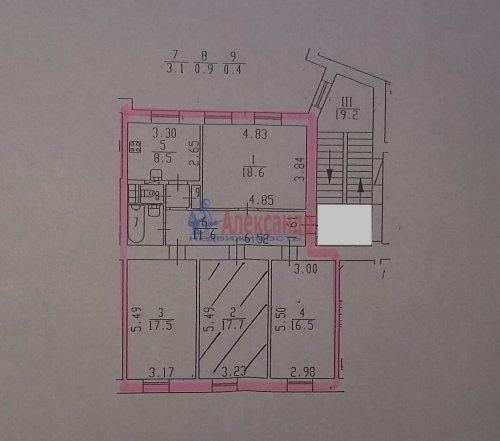 4-комнатная квартира (95м2) на продажу по адресу Кондратьевский пр., 42— фото 2 из 2