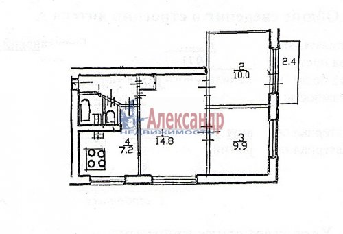 3-комнатная квартира (50м2) на продажу по адресу Гражданский пр., 125— фото 7 из 7