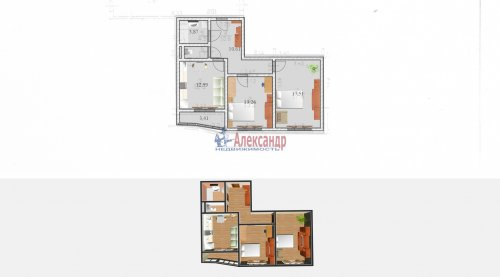 2-комнатная квартира (60м2) на продажу по адресу Доблести ул., 17— фото 4 из 21