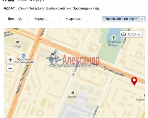1-комнатная квартира (33м2) на продажу по адресу Просвещения пр., 35— фото 1 из 10