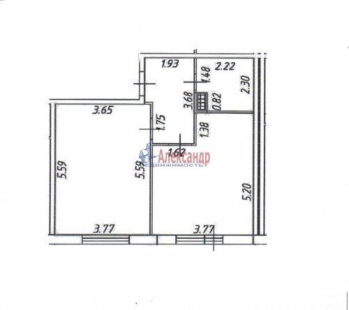 1-комнатная квартира (49м2) на продажу по адресу Всеволожск г., Центральная ул., 10— фото 2 из 21