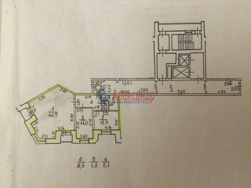 2-комнатная квартира (89м2) на продажу по адресу Ленсовета ул., 88— фото 13 из 14