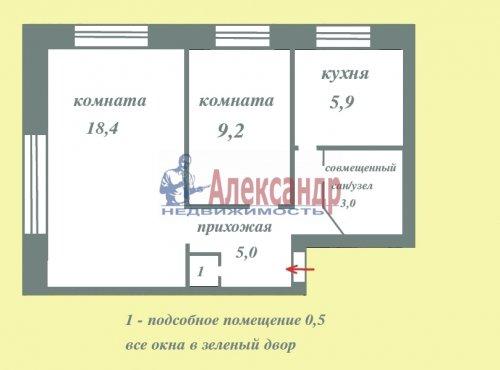 2-комнатная квартира (42м2) на продажу по адресу Краснопутиловская ул., 90— фото 1 из 22