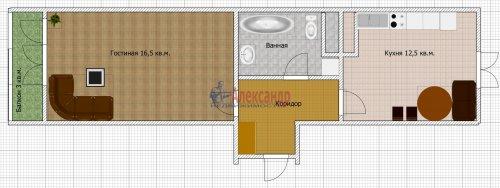 1-комнатная квартира (40м2) на продажу по адресу Шушары пос., Новгородский просп., 10— фото 4 из 10