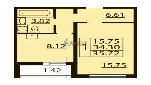 1-комнатная квартира (35м2) на продажу по адресу Парашютная ул., 37— фото 1 из 1