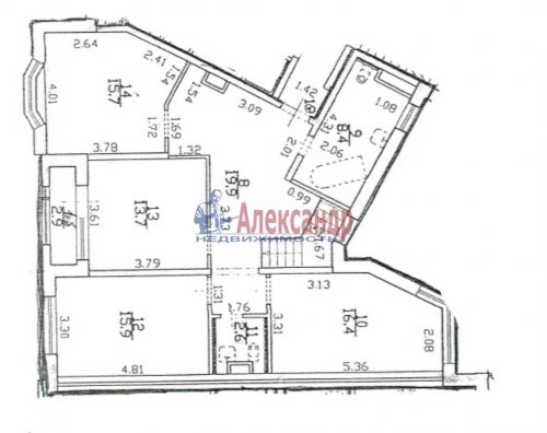5-комнатная квартира (207м2) на продажу по адресу Пушкин г., Ленинградская ул., 46— фото 2 из 6