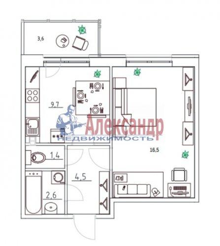 1-комнатная квартира (33м2) на продажу по адресу Сертолово г., Школьная ул., 6— фото 1 из 3