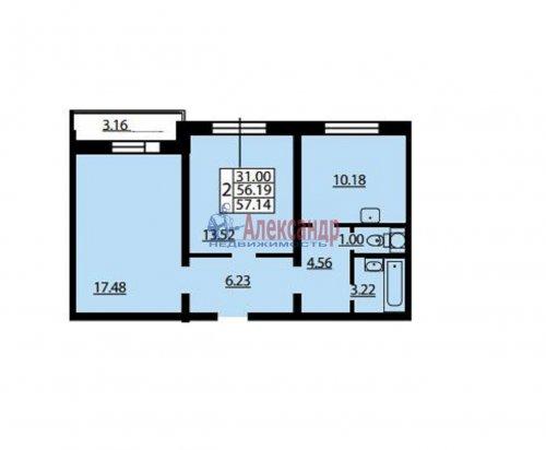 2-комнатная квартира (57м2) на продажу по адресу Героев пр., 53— фото 2 из 2