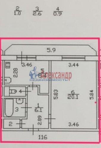 1-комнатная квартира (40м2) на продажу по адресу Новоколомяжский пр., 12— фото 2 из 6