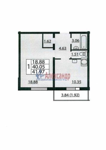 1-комнатная квартира (40м2) на продажу по адресу Маршала Блюхера пр., 12— фото 1 из 1