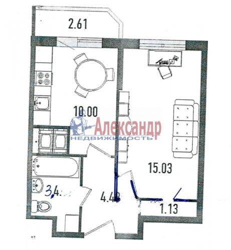 1-комнатная квартира (35м2) на продажу по адресу Мурино пос., Новая ул., 7— фото 1 из 7