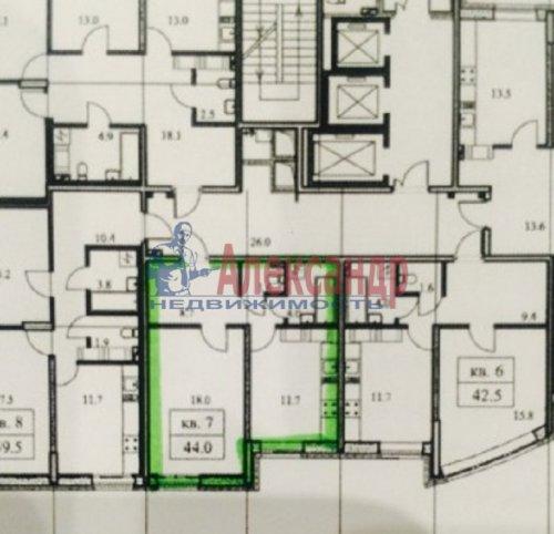 1-комнатная квартира (44м2) на продажу по адресу Бутлерова ул., 11— фото 2 из 4