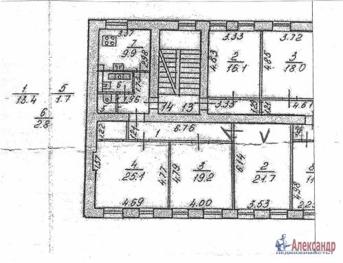 Комната в 3-комнатной квартире (93м2) на продажу по адресу Боровая ул., 46— фото 1 из 2